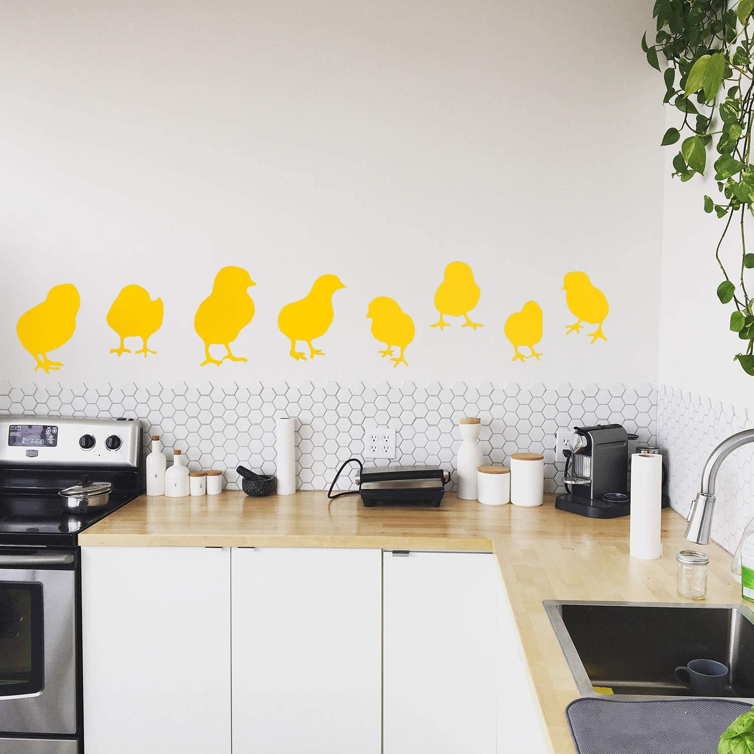 Set of 8 Vinyl Wall Art Decals - Baby Chicks - From 7