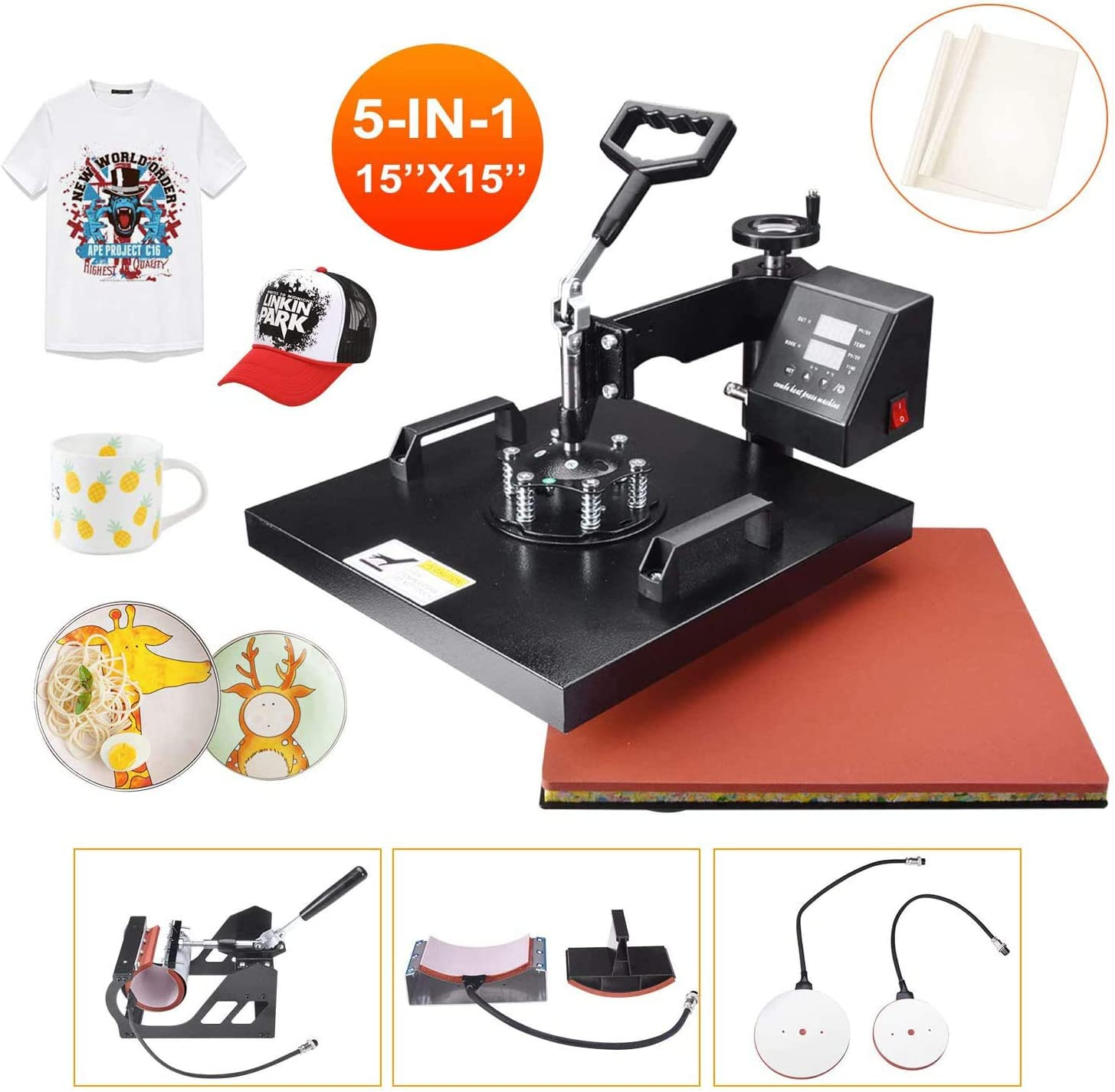 Seeutek Heat Press 15x15 inch Heat Press 5 in 1 Machine 360-Degree Swing Away Digital Multifunction Sublimation Combo for T Shirts Mugs Hat Plate Cap