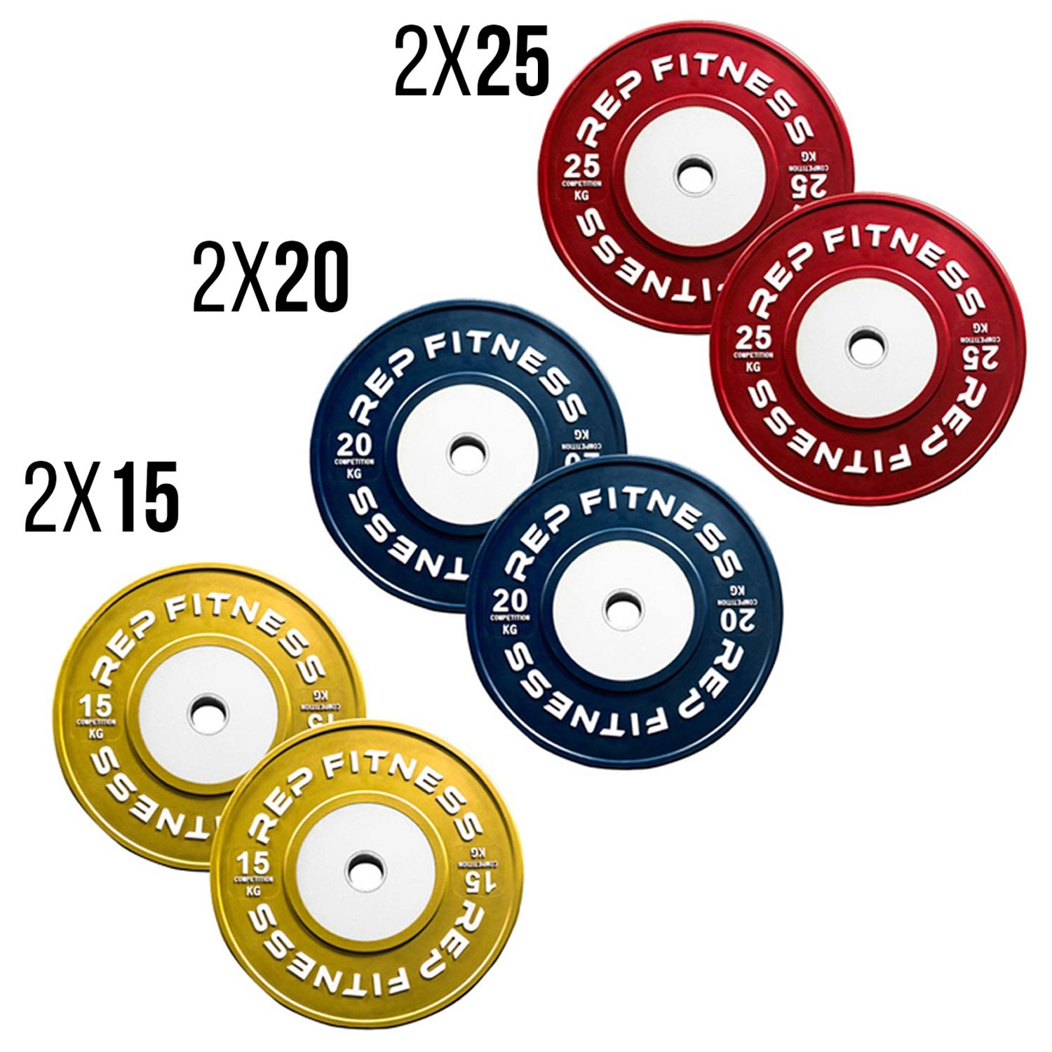 Rep kg Competition Bumper Plates for Olympic Weightlifting, 120kg Set