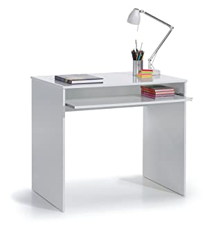 SUENOSZZZ - Mesa de Escritorio para Ordenador y Estudio Color Blanco.  Escritorios Juveniles para Dormitorio Infantil. Incluye Bandeja extraíble.  ...