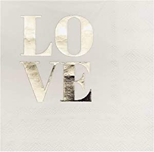 """Gold Foil Cocktail Napkins, 100 Pack for Wedding Reception, Special Occasions, Engagement Party, 3 PLY Folded 5"""" x 5"""" Coctail Napkins, Saying """"LOVE"""""""