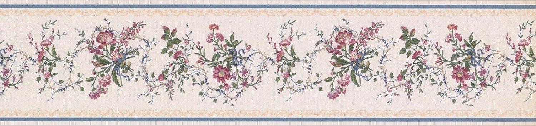 Wallpaper Border White Blue Gold Royal Floral 6 x 15 31616150
