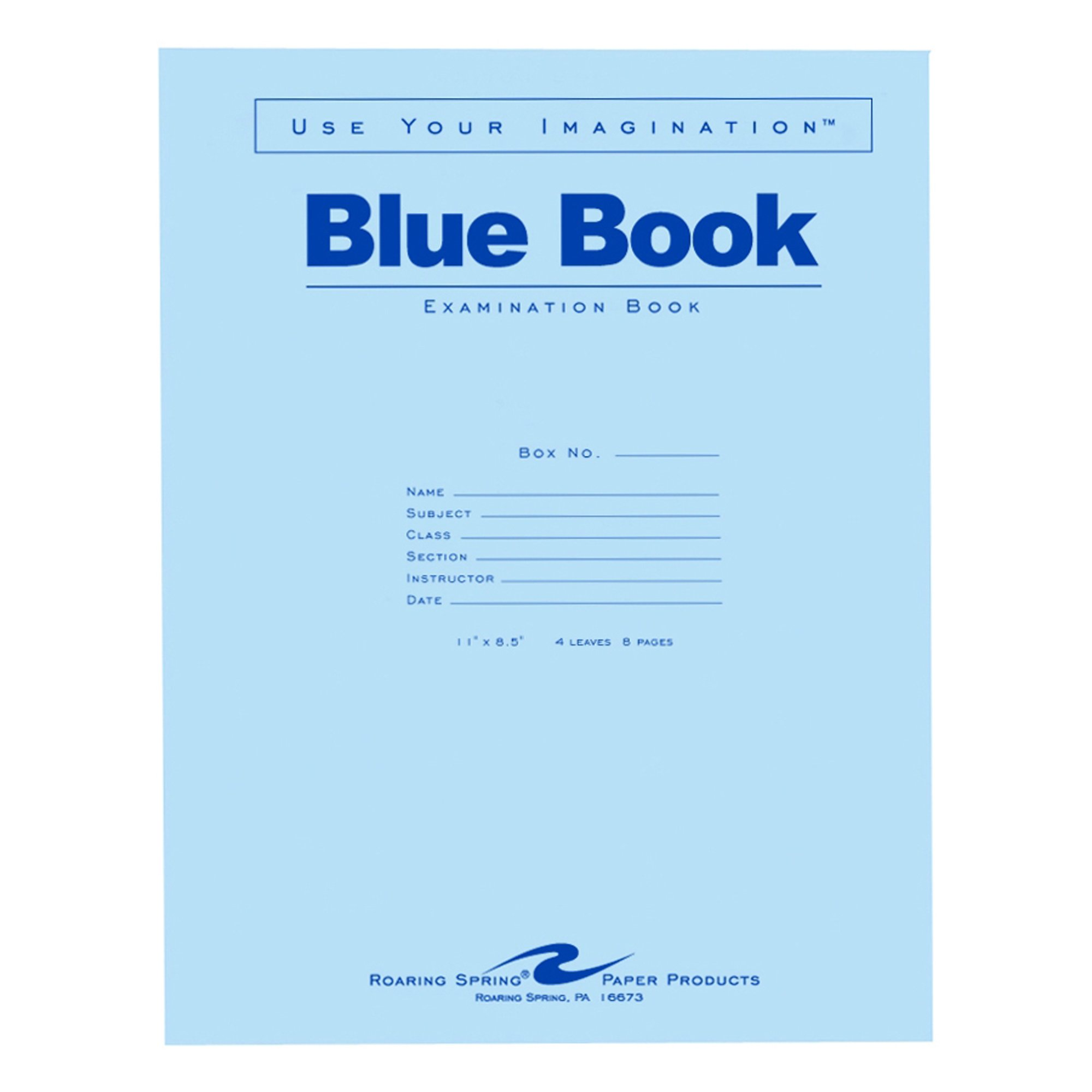 Roaring Spring Blue Exam Book, 11'' x 8.5'', 4 sheets/8 pages by Roaring Spring Paper Products