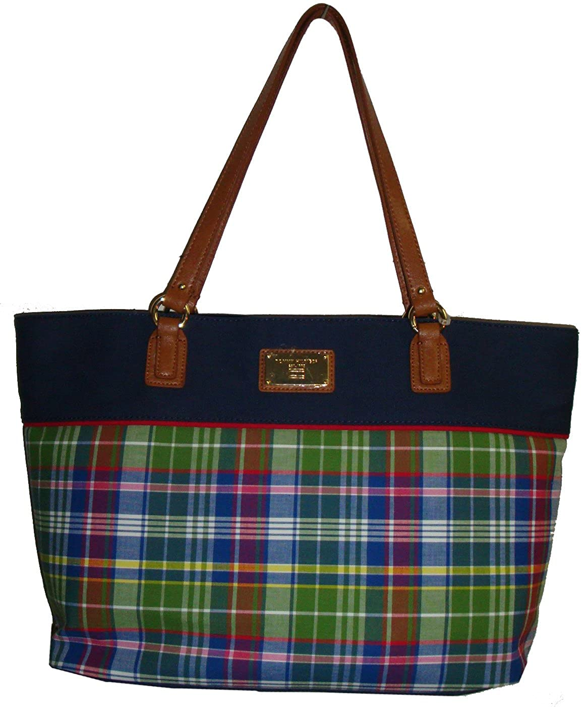 Tommy Hilfiger Womens Large Tote Blue Plaid