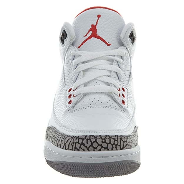 reputable site 8bd6b 313f8 Amazon.com   Jordan Nike Mens Air 3 Retro Powder White Fire Red-Cement Grey  Leather Basketball Shoes   Basketball