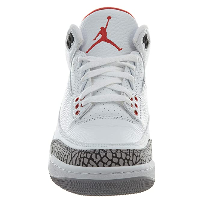 reputable site 9e2eb 476ef Amazon.com   Jordan Nike Mens Air 3 Retro Powder White Fire Red-Cement Grey  Leather Basketball Shoes   Basketball