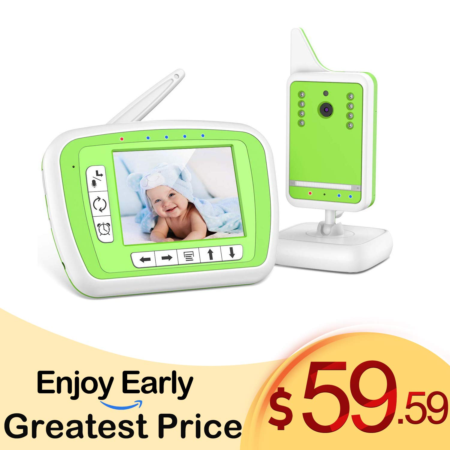 LOYLOV Video Baby Monitor with Digital Camera and Audio, 980ft Long Range 3.3 LCD Display, Support Multi-Camera, Auto Wake-up, Temperature Sensor, Infrared Night Vision, Lullabies