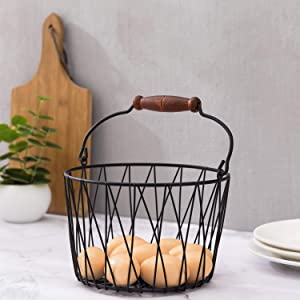 MyGift Matte Black Metal Woven Country Style Egg Basket with Handle