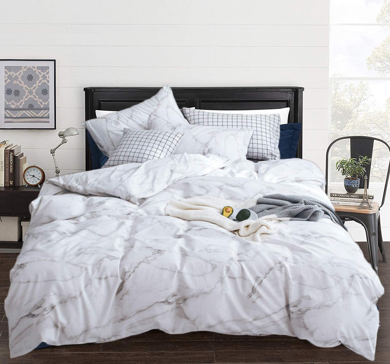 Amazon.com: CLOTHKNOW White Marble Duvet Cover Sets Queen Cotton