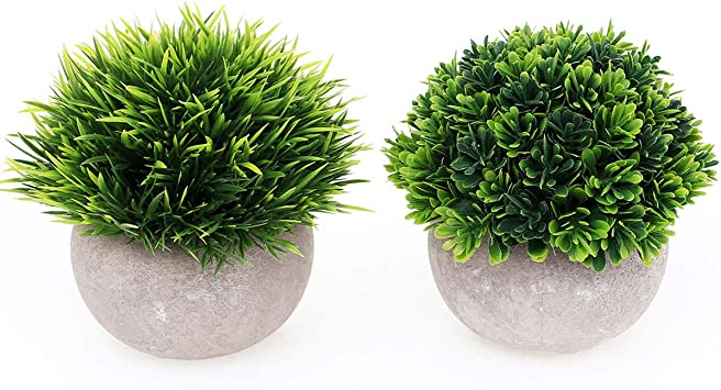Amazon Com Ultraoutlet 2 Pack Small Artificial Plants Centerpiece In Pot Fake Mini Decorative Potted Topiary Shrubs For Office Home Inddor Room Decoration Green