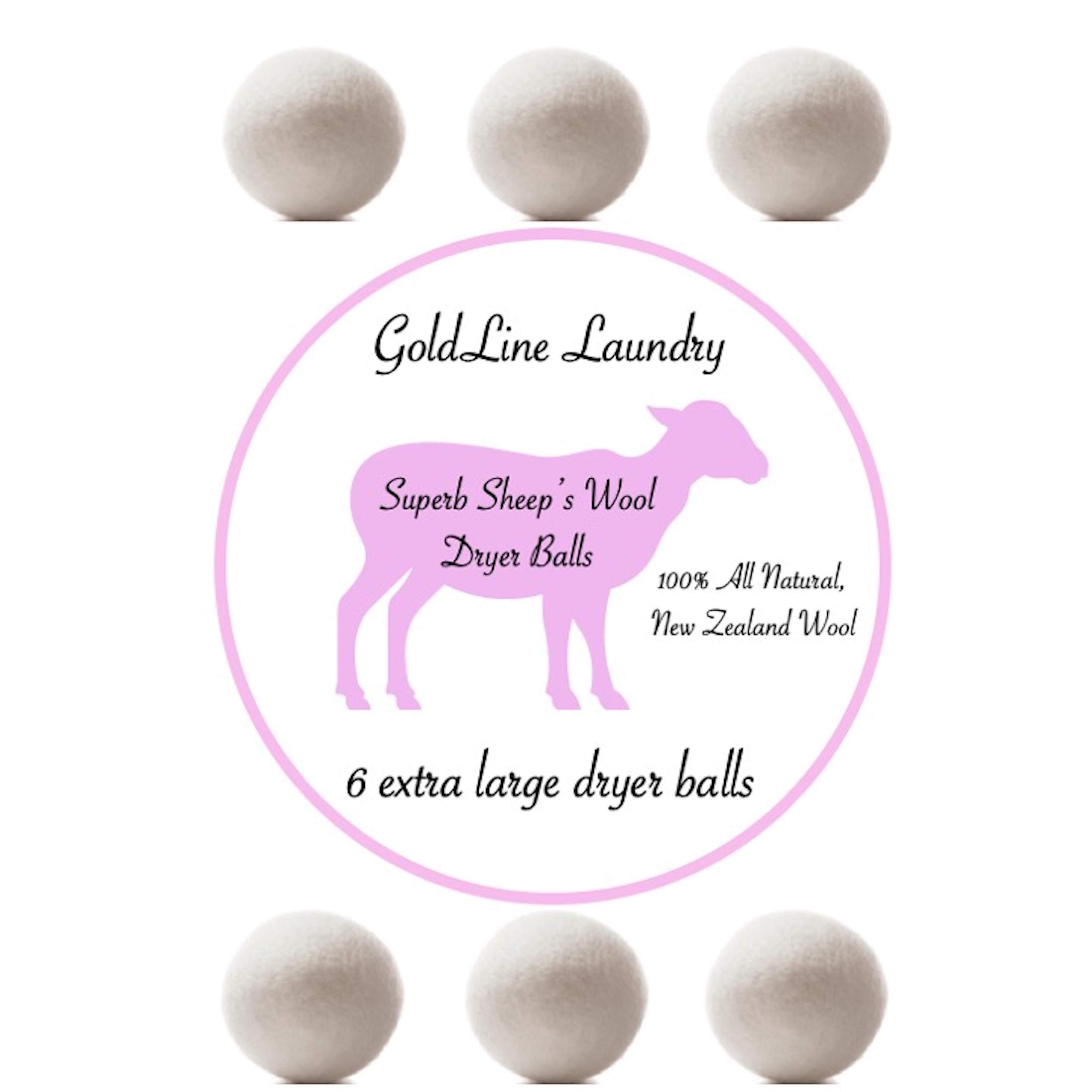 Wool Dryer Balls - 6 Pack - Extra Large - Premium, Natural Fabric Softener from New Zealand - Perfect for Anyone Trying to Limit The Chemicals They Use to Clean Their Laundry