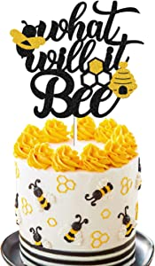 What Will It Bee Gender Reveal Cake Topper Bumble Bee Theme Gender Reveal Cake Decoration He or She Baby Shower Event Party Decor Supplies