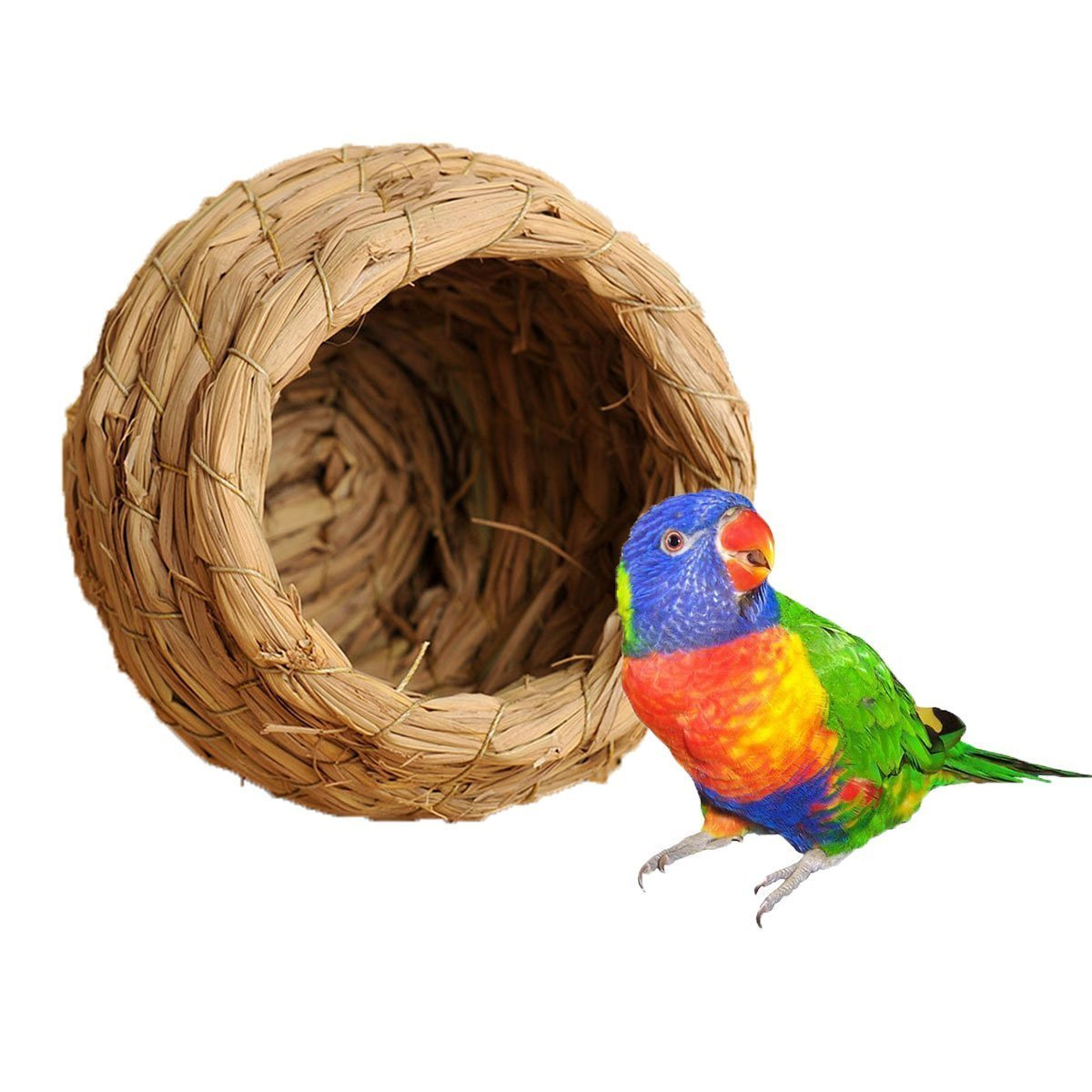 Handwoven Straw Bird Nest Cage For Parrot Macaw African Greys Budgies House Hatching Breeding Cave Also for Dove Hamster Gerbil Chinchillas Peety