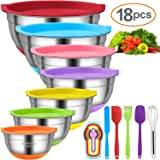 Mixing Bowls with Airtight Lids, 11pcs Stainless Steel Nesting Mixing Bowls Set – Non-slip Silicone Bottom, Size 7, 5.5, 4, 3.5, 2.5, 2, 1.5 QT, Fit for Mixing & Serving