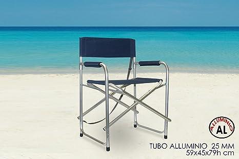 Girm® ge798040 sedia da regista blù in metallo con tracolla