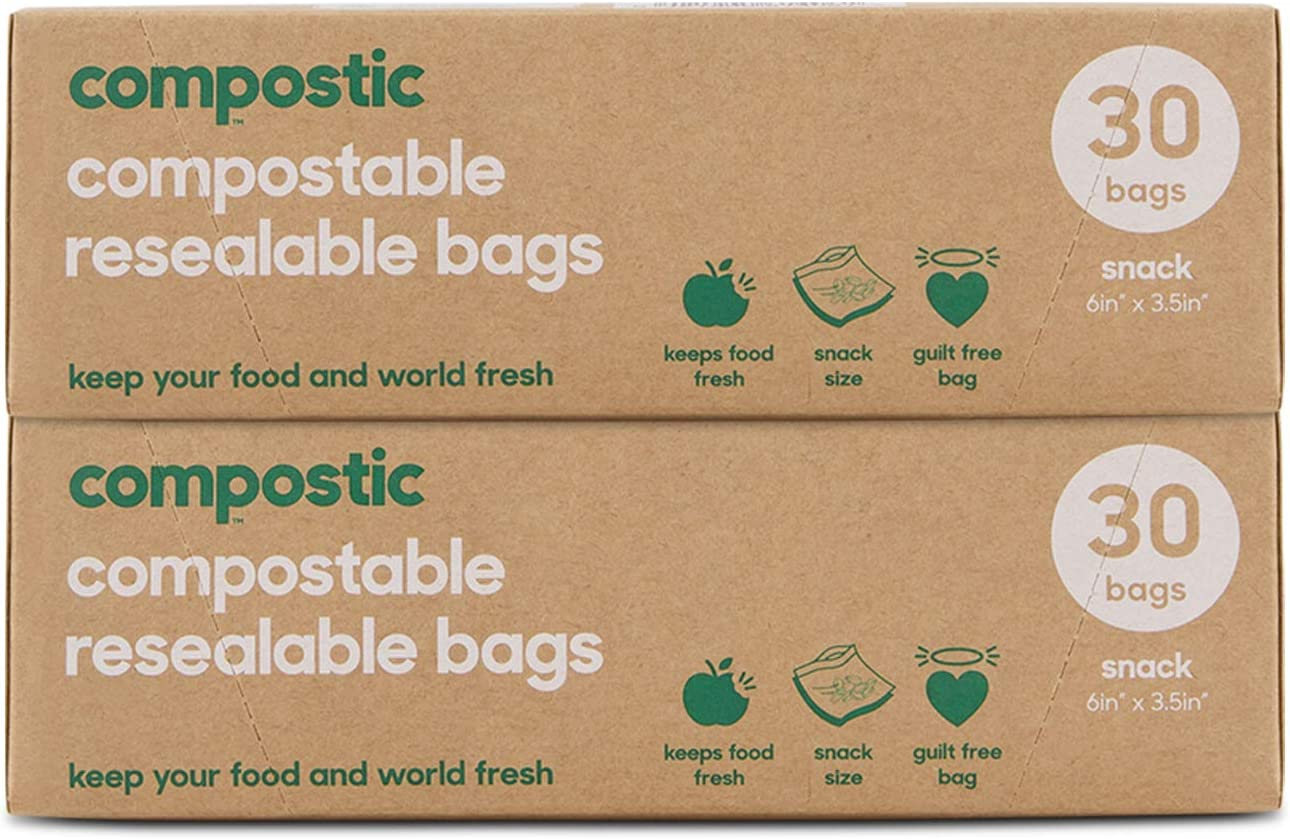 Compostic Home Compostable Resealable Snack Bags - Eco Friendly, Reusable, Zero Waste, Non-Toxic, Guilt-Free - Plastic Alternative for Earth Friendly Food Storage - (6