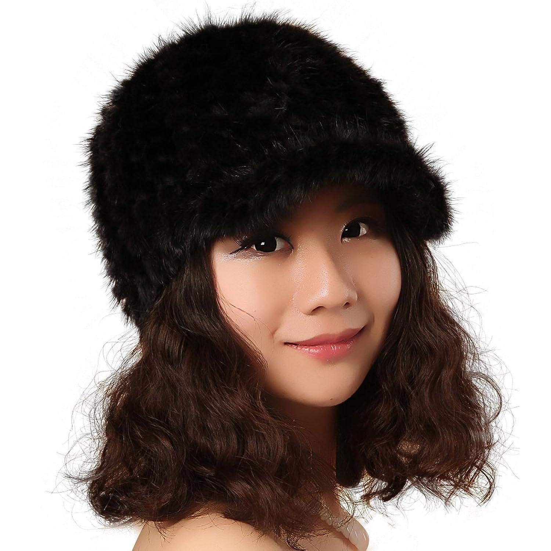 FURTALK Damen Winter hochwertige Echte Nerzpelz Warm und Weich Material Schirmmütze Pelzmütze Strickmütze