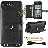 iPhone 8 Plus Wallet Case, LAMEEKU Compatible Wallet Case for iPhone 7 Plus 8 Plus, Card Holder Leather Case with Wrist Chain Crossbody Strap Zipper Case for iPhone 7 Plus/8 Plus-5.5''(Black)