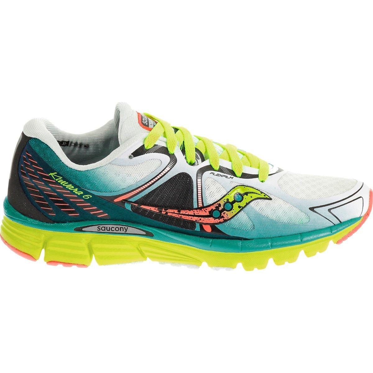 Saucony Women's Kinvara 6 Running Shoe, White/Blue/Coral, 9 M US