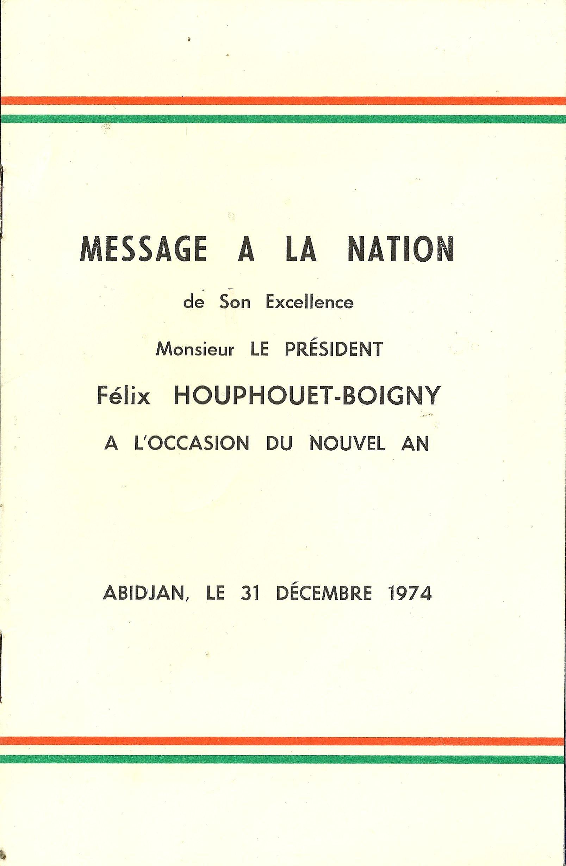 Message A La Nation De Son Excellence Monsieur Le President