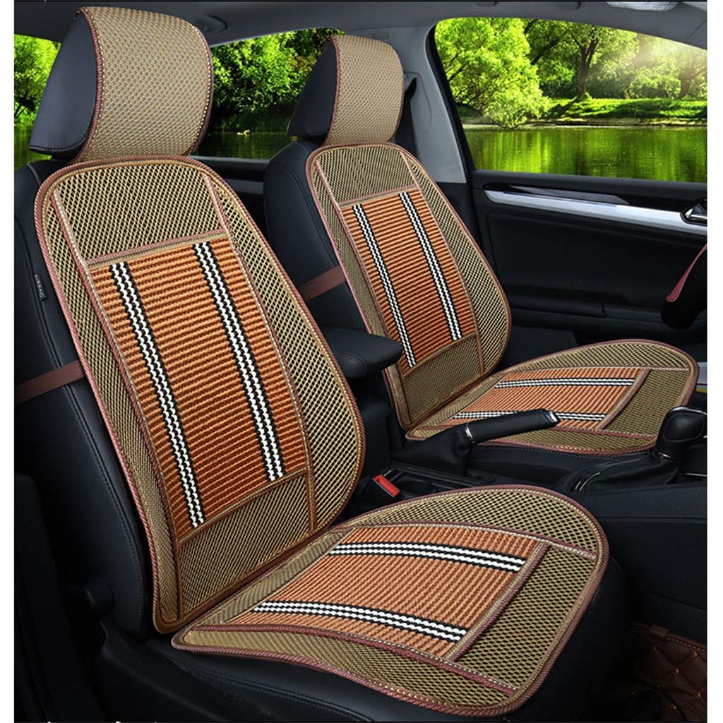 golden Wood Beaded Seat Cushion Summer Breathable Seat Cover Anti-Slip Car Interior Seat Chair Pad Cushion(One Pack)