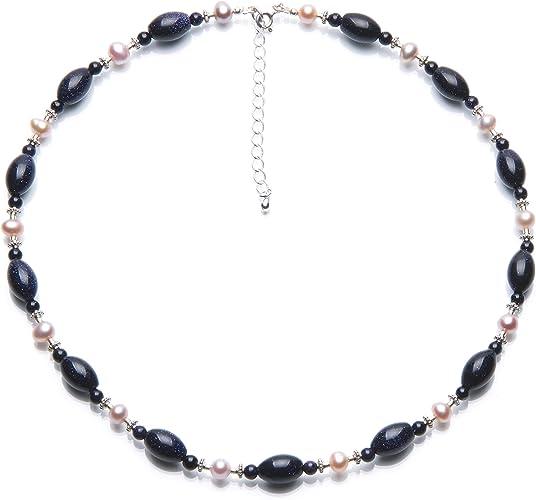 collier perle bleu marine