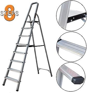 Escalera plegable de 8 peldaños con plataforma superior segura, cómoda, escalones anchos, ligero, portátil, escaleras de cocina para bricolaje: Amazon.es: Bricolaje y herramientas