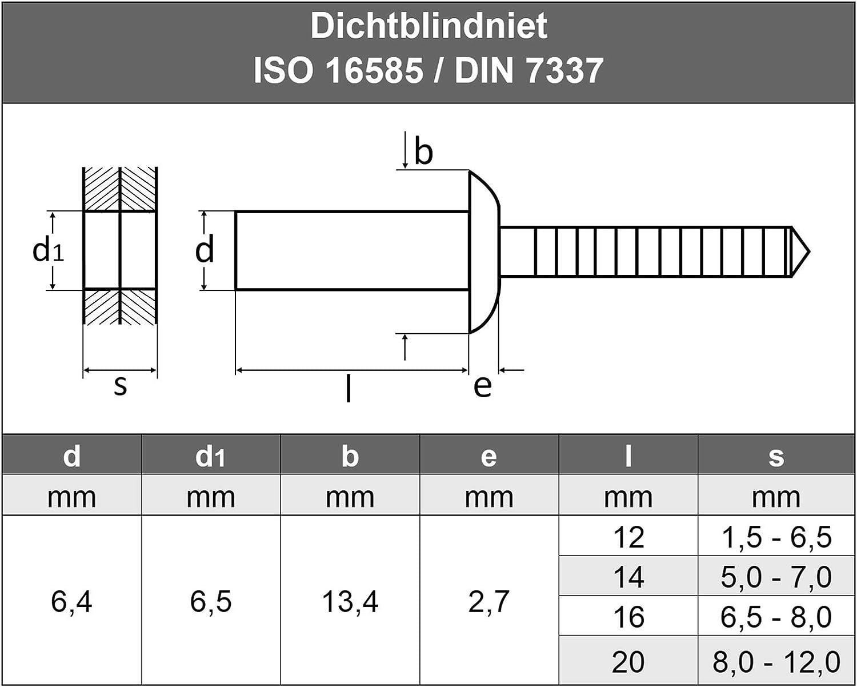 impermeabili 2 pezzi in acciaio inox VA A2 V2A AGBERG 4,8 X 14 mm rivetti ciechi AGBERG rivetti ciechi con testa piatta ISO 16585 antiruggine DIN 7337