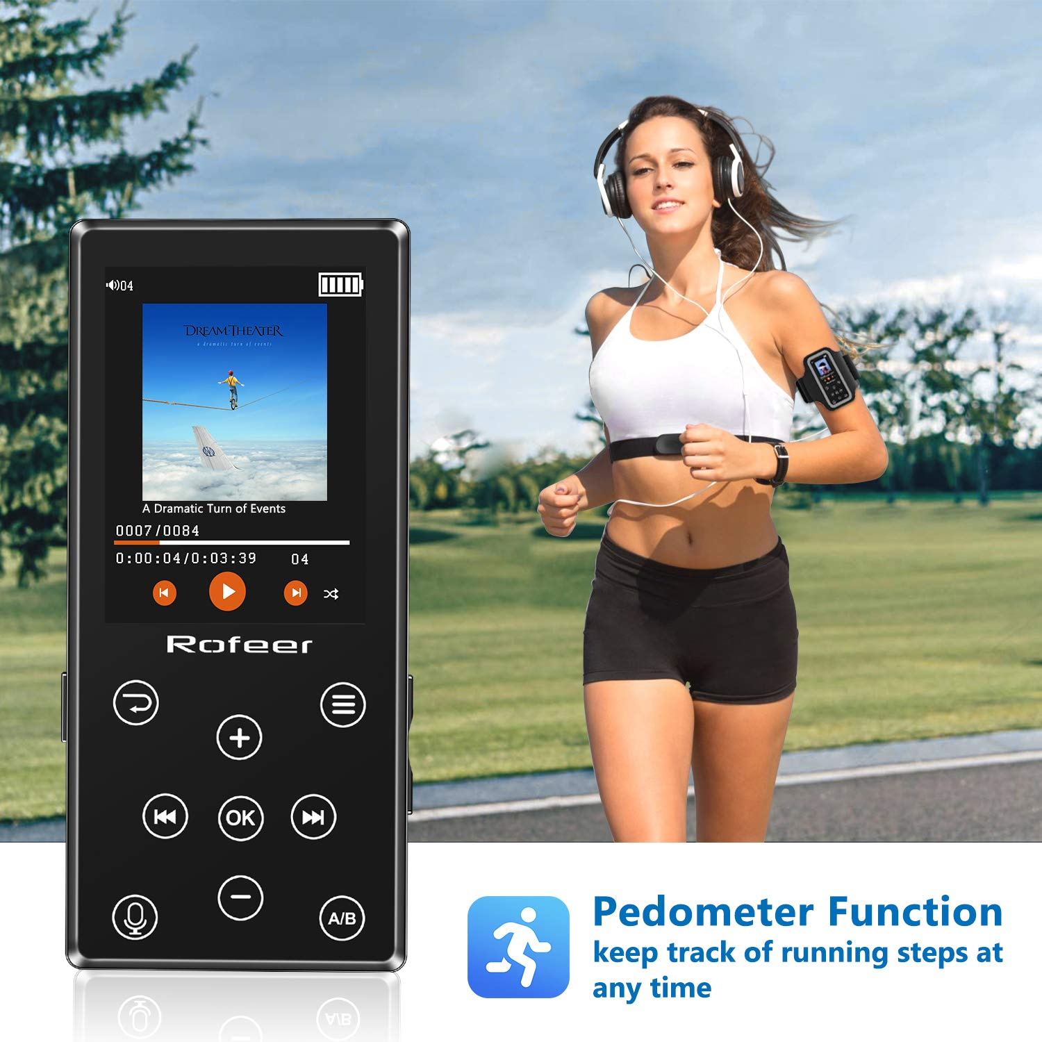 MP3 Player 16GB MP3 Player with Bluetooth 4.2 HiFi Lossless Sound Portable Digital Music Player FM Radio Voice Recorder E-Book 2.4 LCD Support up to 128GB with Earphone /& Armband