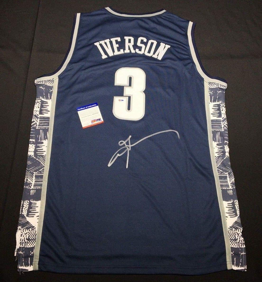 hot sale online fd56f 97f42 Allen IversonSigned Georgetown Hoyas Basketball Jersey ...