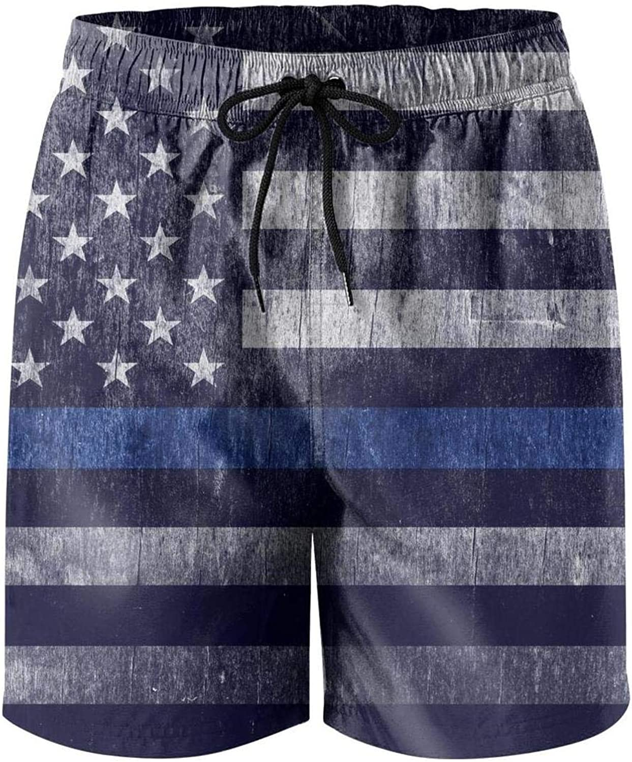 Quick-Dry Mens Beach Shorts Grunge American Flag of USA Swim Trunks with Adjustable Drawstring