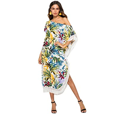 d48983c4e75 Image Unavailable. Image not available for. Color  Felice Women s Tassel  Off Shoulder Midi Dress Casual Loose Beach Dress Bohemian Printed