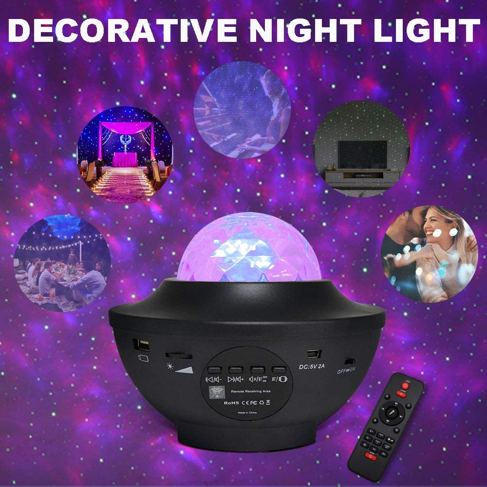 Ocean Wave Star Night Light Projector for Kids Bedroom//Gam Room//Home Party Remote Control//DC Powered by USB Texbee Star Projector Light with Bluetooth Speaker