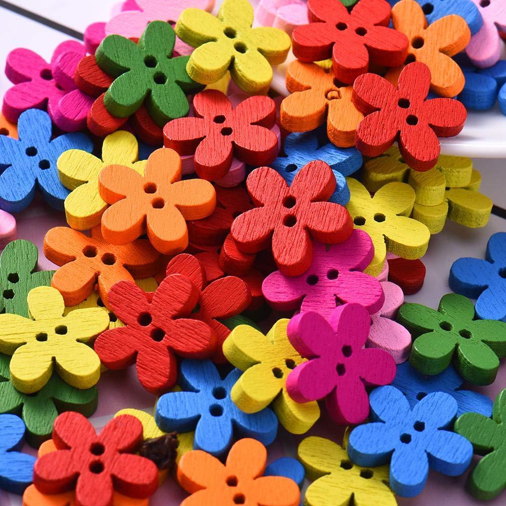 Fai da Te in Legno Matrimonio Funihut 100 Bottoni a Forma di Fiore Colorati per Cucito Decorazione della casa Artigianato
