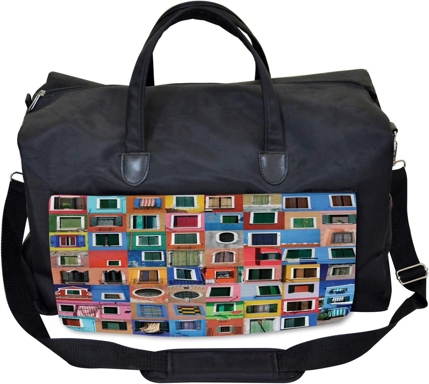 Large Weekender Carry-on Mediterranean Village Ambesonne Colorful Gym Bag