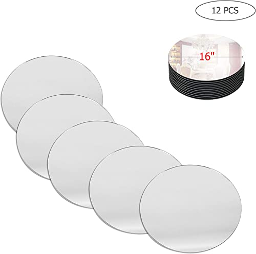 WGV Round Mirror Plate Sets Bulk 16 Diameter, 4 mm Thickness, Frameless Sanded Edges, Quality Thick Candle Tray, Home Event Party Wedding Table Centerpiece Wall Decor, 12 Pieces