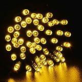 lederTEK potente solare leggiadramente impermeabile luci della stringa di 12m 100 LED 8 modi di Natale lampada decorativa per scoperta, giardino, casa, matrimonio, Natale Capodanno Party (100 LED Bianco caldo)