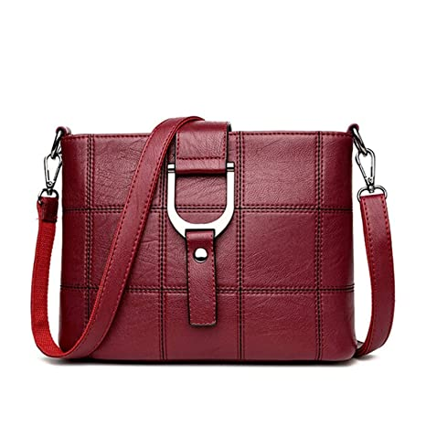 07cb06e1b2cd Amazon.com  2018 Luxury Plaid Handbags Women Messenger Bags Designer Brand Female  Crossbody Shoulder Bags For Women Leather PU Ladies Bag (Red color)  ...