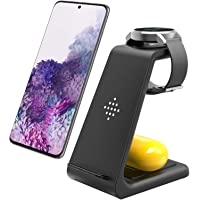 Wireless Charging Station, 3 in 1 Premium Qi-Certified Charging Stand Fast Charger Compatible with Samsung Galaxy S10/S9…