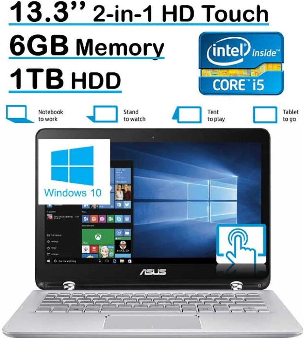 ASUS Q304UA 13.3-inch 2-in-1 Touchscreen Full HD Laptop PC (2016 Edition, 6th Intel Core i5-6200U up to 2.8GHz, 6GB RAM, 1TB HDD) Silver