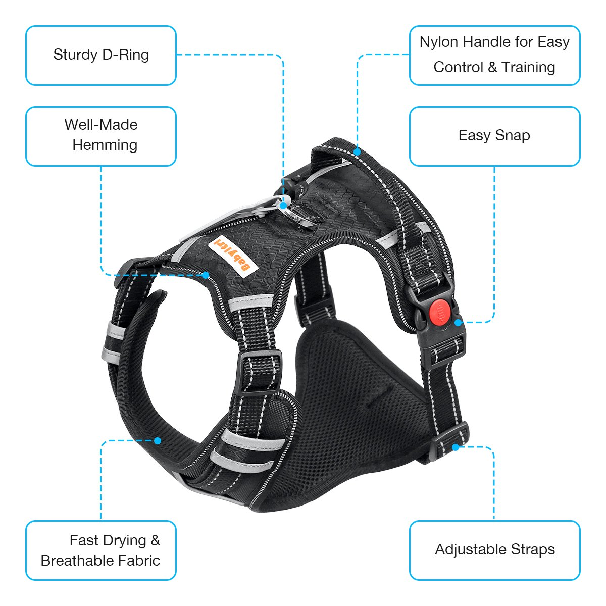Big Dog Harness No Pull Adjustable Pet Reflective Oxford Soft Vest for Large Dogs Easy Control Harness by Babyltrl (Image #2)