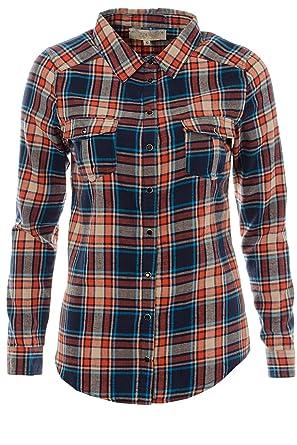 Ladies Blue Orange Checked Shirt Womens Tartan Cotton Shirt Blouse ...