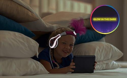 eKids Trolls World Tour Poppy Kids Headphones, Glow in The Dark, Stereo Sound, 3.5mm Jack, Wired Headphones for Kids, Tangle-Free, Volume Control, Childrens Headphones Over Ear for Travel
