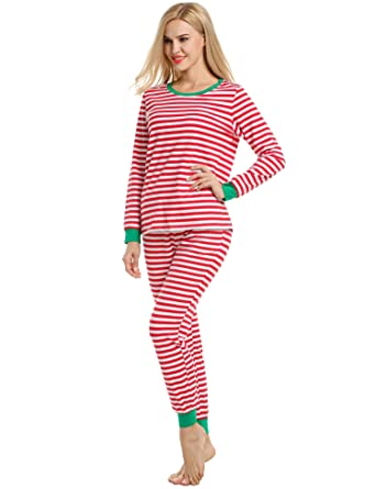 avidlove womens fitted stripe christmas pajama set cotton pjs seasonal sleepwear large red - Womens Christmas Nightgowns