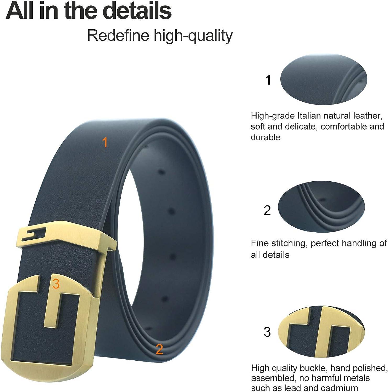 LUCIANO LetterG Steel Slide Buckle Cowhide Soft Genuine Leather Dress Belt for Men