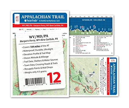 Amazon.com : Appalachian Trail Map AT-12- Harpers Ferry WV ...