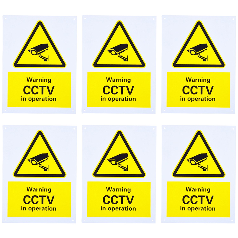 CCTV Seguridad Warning Sign, Señal de Peligro, Advertencia Señal Monitoring Security Cameras Sign , Rigid Plastic, 150 x 200 mm, 6 Pack Mudder