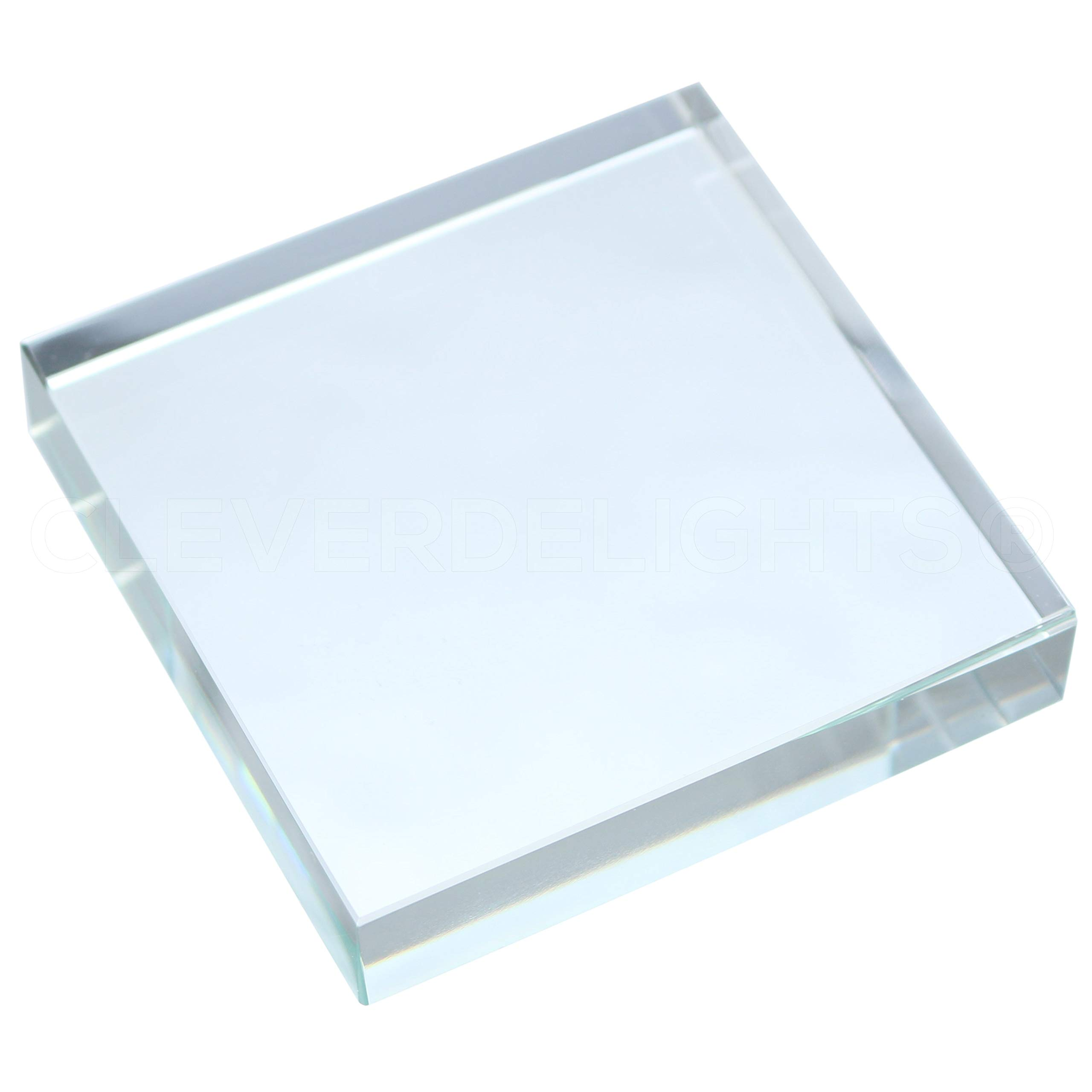 10 Pack - CleverDelights 3 Inch Square Glass Tiles - Clear Solid Glass Tiles - 3'' x 3'' x 5/8'' Thick