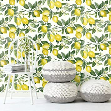 Amazon Com Roommates Lemon Zest Yellow And White Peel And Stick Wallpaper Home Improvement