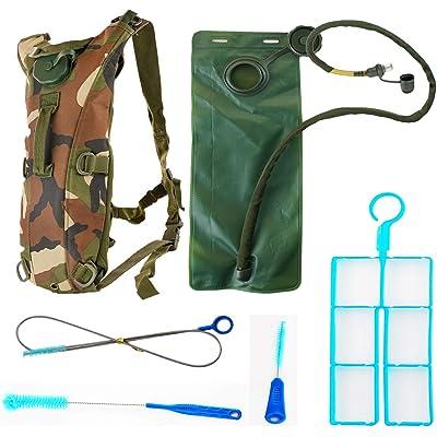 Mochila de hidratación de 3 litros y kit de limpieza - Incluye una mochila de agua ligera con depósito de agua y una boquilla blanda para caminar, correr en bicicleta de camping Deportes al aire libre